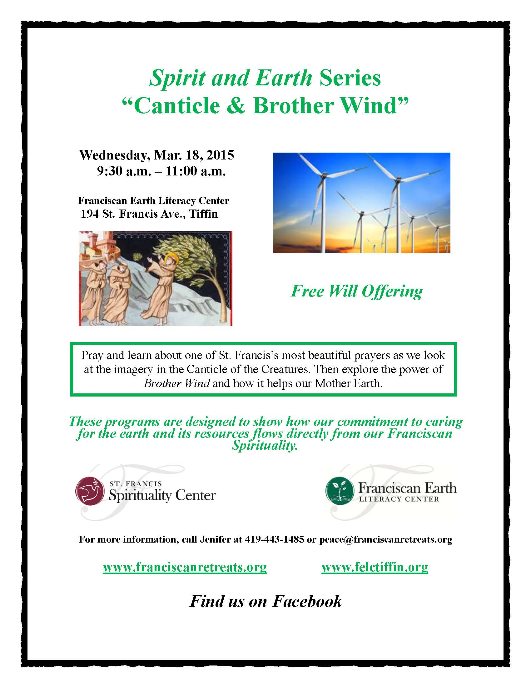 Spirit and Earth Series Flyer - Canticle & Brother Wind