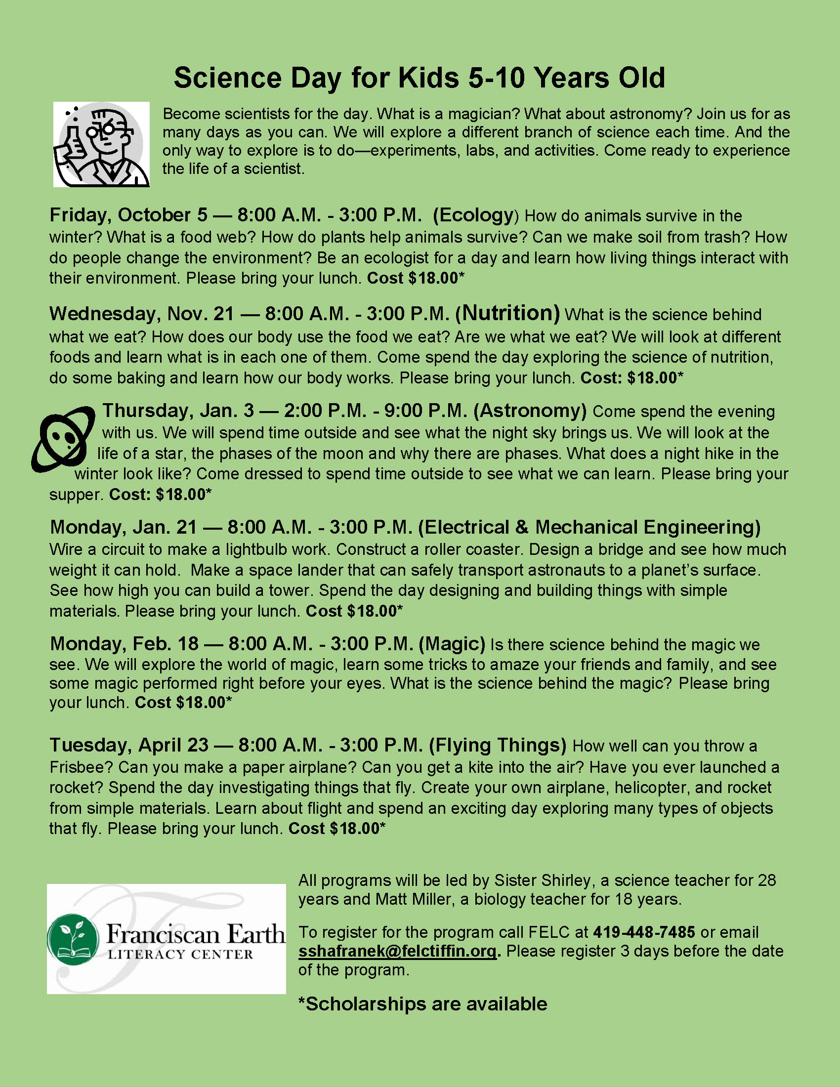 Science Day/Weekend/Holiday Programs | FELC Tiffin